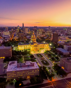 Texas State Capital and the last of the day's light.