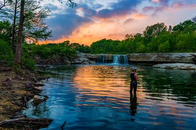 Fishing at the Falls -Sunset - McKinney Falls State Park