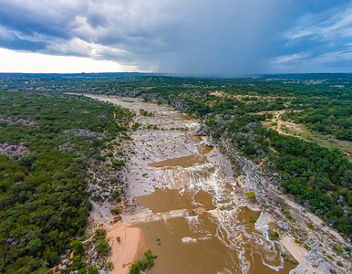 Pedernales Falls State Park with rain on the horizon