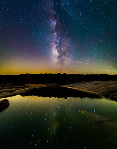 The weekend approaches and the sky is the limit. Milky Way over and reflected in Pedernales Falls.