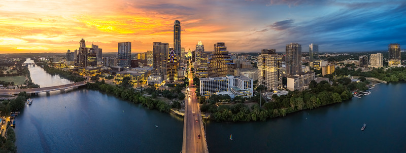 Downtown Austin Texas with capital and riverfront
