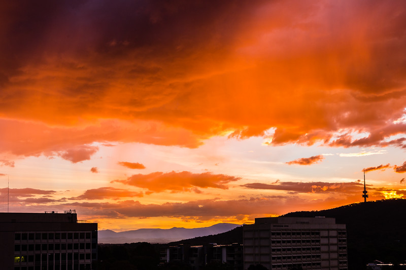 Sunset in Canberra after getting a decent amount of rain.