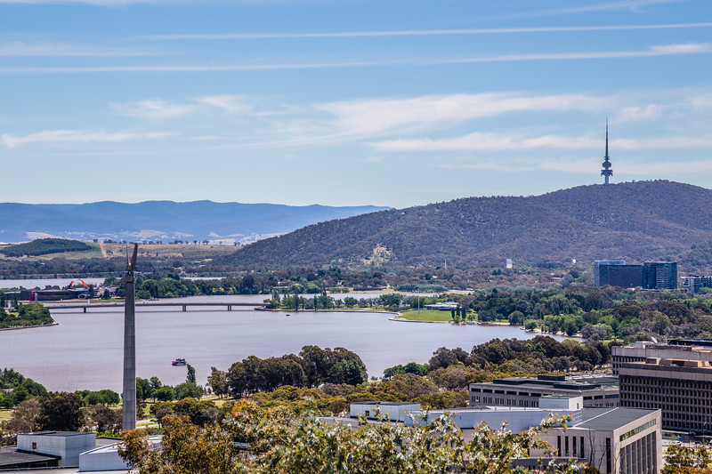 "Overlooking Russell and Lake Burley Griffin from atop ""Mount"" Pleasant. It's more like a hill... At the top is a memorial to the Royal Australian Artillery."