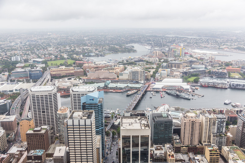 Darling Harbour from the tallest building in Sydney!