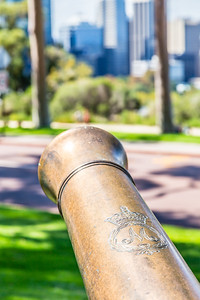 A British cannon from the 1800s at the Queen Victoria statue in Perth. I tried to look up the seals that are on the cannon but there doesn't seem to be any good way to do that search.