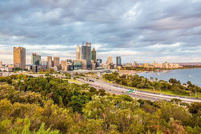 Perth around sunset from King's Park.