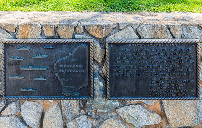 There seems to be a very large # of monuments and such in Australia. These two are plaques given by the US Navy in 1982. They're mounted knee height along a walkway in Perth at Kings Park. We could have at least given them a statue or something.