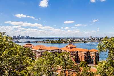 A nice view of the Swan River, which runs through Perth, from up in Kings Park. The big set of buildings on the shoreline is the Swan Brewery.