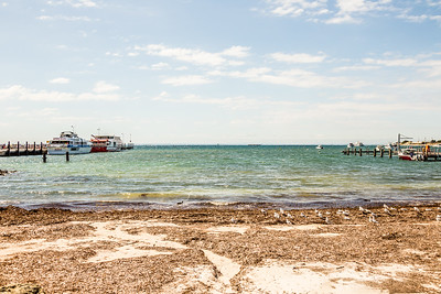 The beach by the dock at Rottnest Island. The mainland is just visible on the horizon.