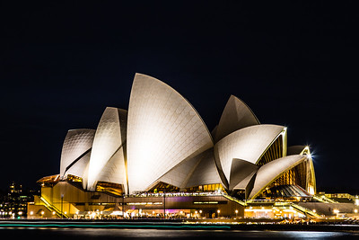 The Sydney Opera House at night from across Circular Quay.