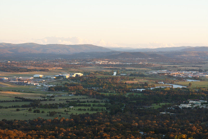 Looking to the southeast towards the airport from atop Mt. Ainslie at sunset