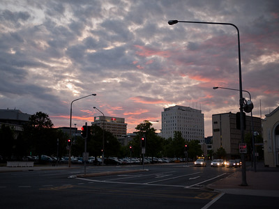 London Circuit and Northbourne Avenue intersection at sunset