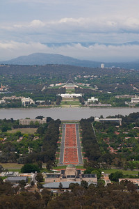Looking down Anzac Parade towards Parliament from atop Mt. Ainslie