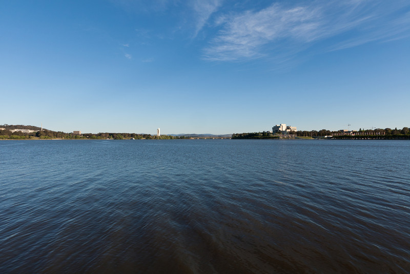 Looking to the southeast from the shore of Lake Burley Griffin at Commonwealth Park