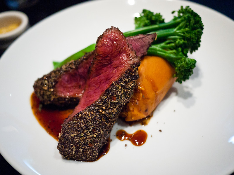 Peppered Kangaroo Fillet (brocolini, roast kumara puree) from Kingsley's Steak and Crabhouse at the Canberra Centre. at the Canberra Centre.