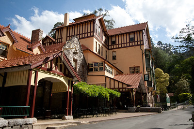 The Jenolan Caves House, a historic building containing a restaurant, cafe, gift shop, and lodging
