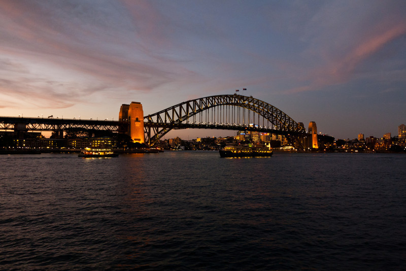 The Sydney Harbour Bridge not long after sunset
