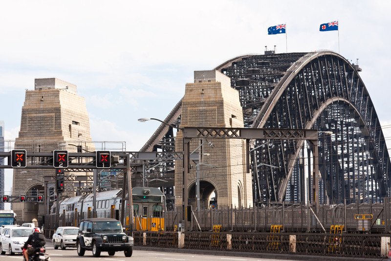 The Sydney Harbour Bridge from the north end of the pedestrian walkway