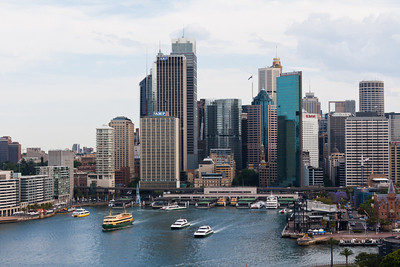 Circular Quay and skyscrapers of Sydney from the Harbour Bridge