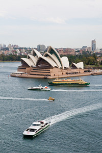 The opera house, 3 ferries, and a water taxi from the Sydney Harbour Bridge