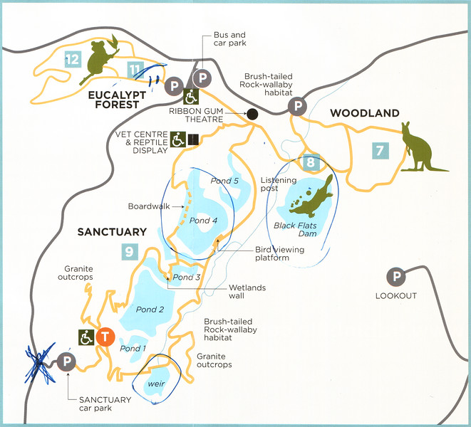 Map of Tidbinbilla annoated by one of the very nice staffers at the visitor's center of places I might want to visit