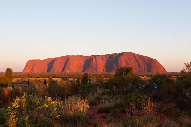 Sunrise at Uluru on a good morning.  While nice, it was not as impressive as sunset the night before.