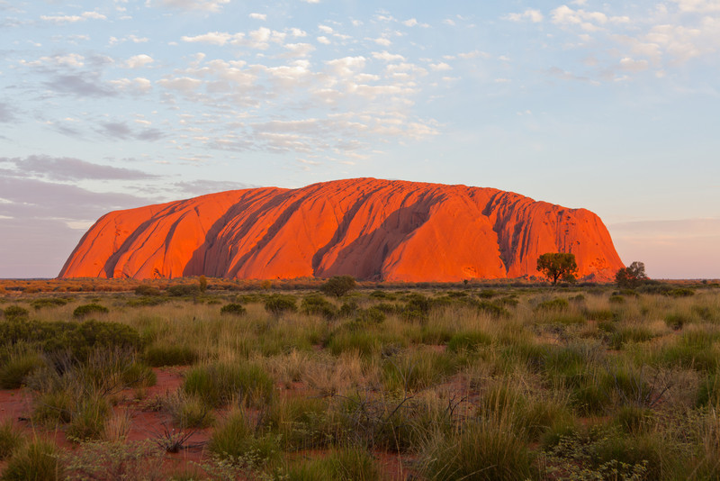 Uluru at sunset on a nice evening