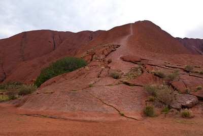 Uluru climbing path.  It looks extremely steep.  The aboriginal people don't like people climbing Uluru since it's considered sacred.  When I was there, the climbing path was closed due to weather.