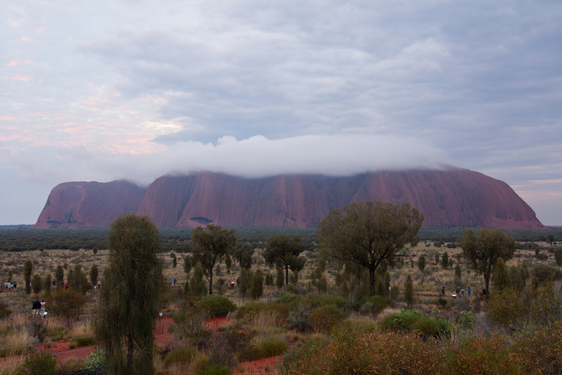 Uluru during sunrise on a cloudy morning