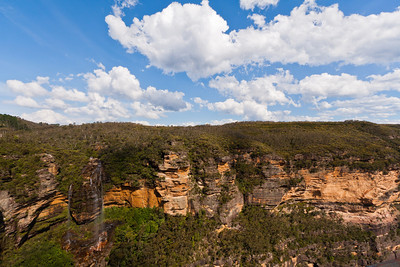 Wentworth Falls is on the left.  Near the center of the photo, note the steep stairway trail.