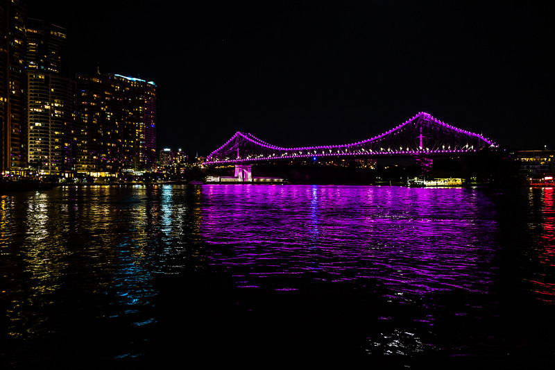 The Story Bridge illuminated in a nice purple!