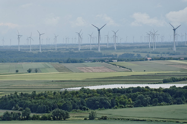 River Danube East of Vienna, Hainburg Wind farming