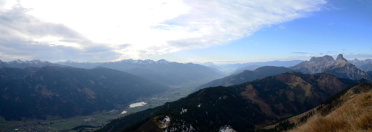 Blaseneck, 1969m, looking W into Trieben valley and Admonter Reichenstein to the right