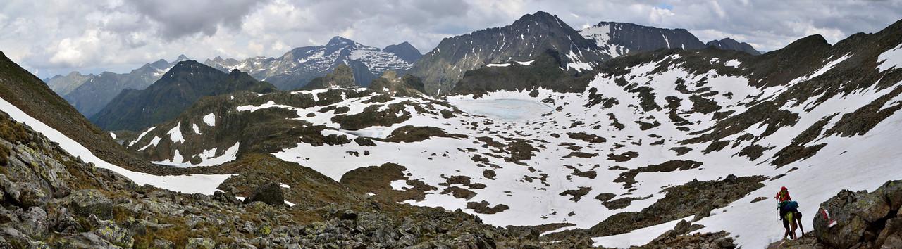 Climbing Greifenberg (2618 m), looking back at Oberer Klaffersee