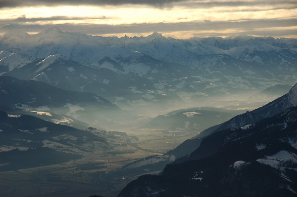 Ennstal with fog layer in front of Niedere Tauern
