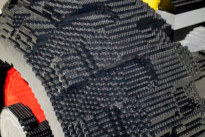 This is a close-up of the tire.  Wow!  Look at all of those Legos!