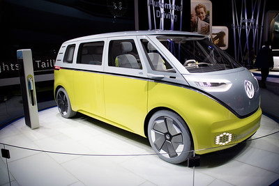 When Grandma and I were kids, Volkswagon made the Volkswagon bus that was really the first mini-van.  Here they've up-graded it to a totally modern electric van. This is just a concept van, so you can't buy it. Yet.