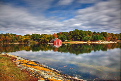 Red Boathouse in Moonlight ,Blue Hill Me.
