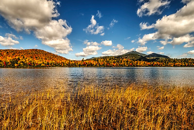 Connery Pond in autumn with Whiteface Mountain