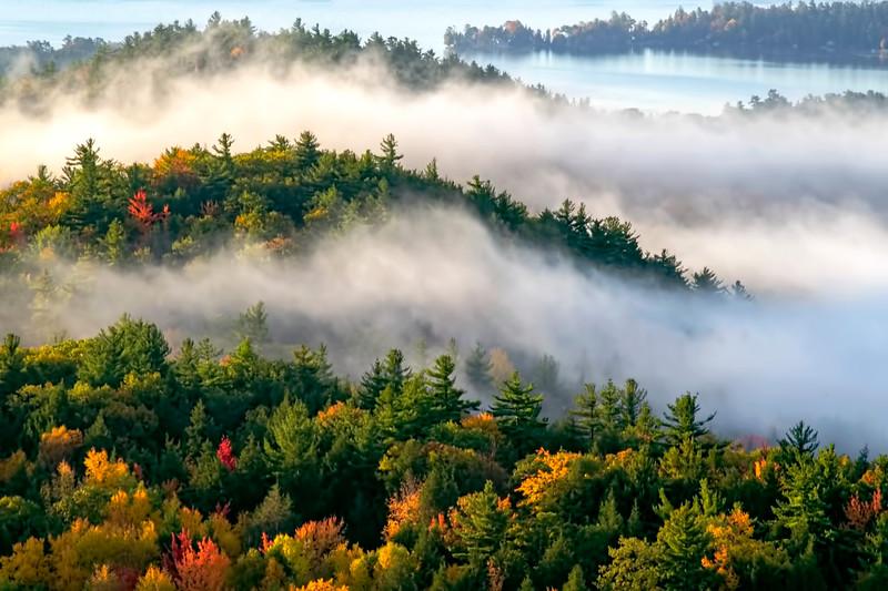 Early morning fog and Adirondack Fall Foliage