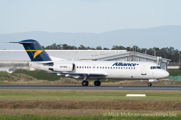 MMPI_20201126_MMPI0063_0020 - Alliance Fokker F100 VH-NUO as flight VA2901 takes off from Brisbane (YBBN) en route for Gladstone (YGLA).