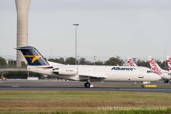 MMPI_20201126_MMPI0063_0021 - Alliance Fokker F100 VH-NUO as flight VA2901 takes off from Brisbane (YBBN) en route for Gladstone (YGLA).