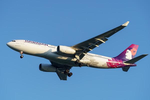 "MMPI_20200215_MMPI0063_0039 - Hawaiian Airlines Airbus A330-243 N361HA ""Hoku Mau"" as flight HA443 on approach to Brisbane (YBBN) ex Honolulu (PHNL)."