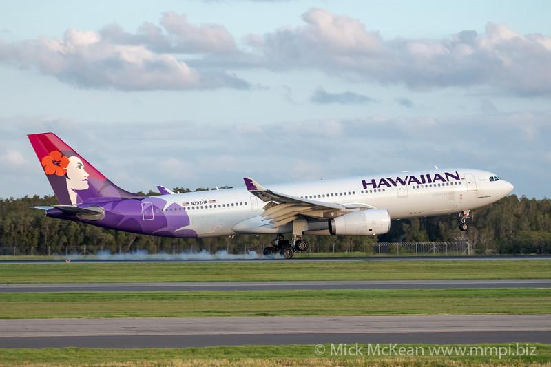 MMPI_20200229_MMPI0063_0065 - Hawaiian Airlines Airbus A330-243 N392HA as flight HA443 touches down at Brisbane Airport (YBBN) ex Honolulu (PHNL).