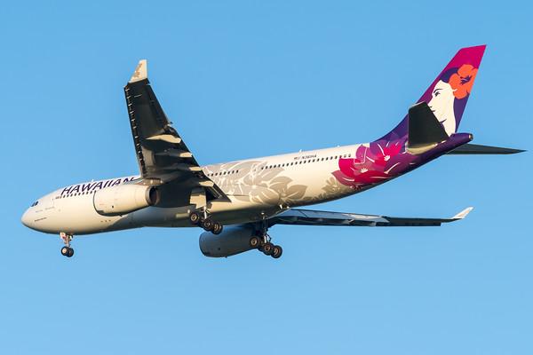 "MMPI_20200215_MMPI0063_0041 - Hawaiian Airlines Airbus A330-243 N361HA ""Hoku Mau"" as flight HA443 on approach to Brisbane (YBBN) ex Honolulu (PHNL)."