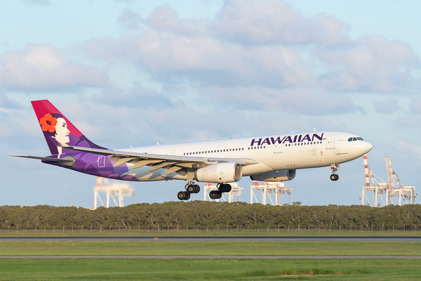 MMPI_20200229_MMPI0063_0063 - Hawaiian Airlines Airbus A330-243 N392HA as flight HA443 on approach to Brisbane Airport (YBBN) ex Honolulu (PHNL).