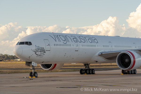 MMPI_20210309_MMPI0078_0007 - Virgin Australia Boeing 777-3ZG(ER) VH-VOZ parked being readied for flight after being sold.