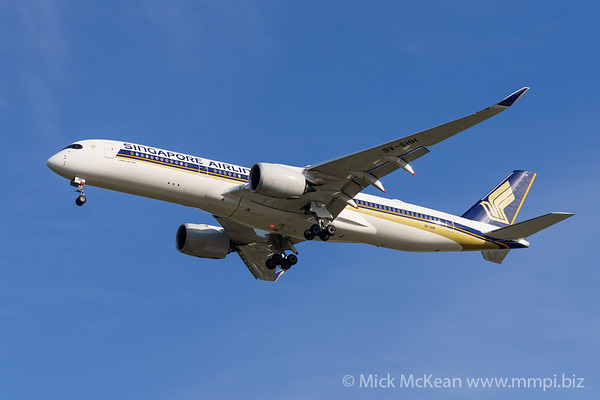 MMPI_20200127_MMPI0063_0013 - Singapore Airlines Airbus A350-941 9V-SHH as flight SQ265 on approach to Brisbane (YBBN) ex Singapore (WSSS).