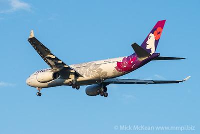 "MMPI_20200215_MMPI0063_0042 - Hawaiian Airlines Airbus A330-243 N361HA ""Hoku Mau"" as flight HA443 on approach to Brisbane (YBBN) ex Honolulu (PHNL)."