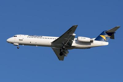 MMPI_20200322_MMPI0063_0014 - Alliance Airlines Fokker F100 VH-UQA as flight VA1264 on approach to Brisbane Airport (YBBN) ex Emerald (YEML).